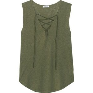 Splendid army- green lace-up-front tank, xs